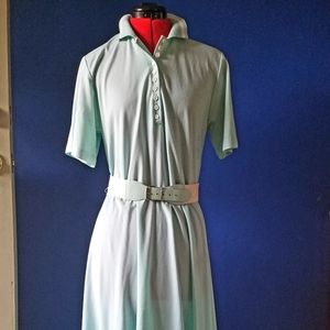 Vintage 80s Collared Shirt Dress Mint Green